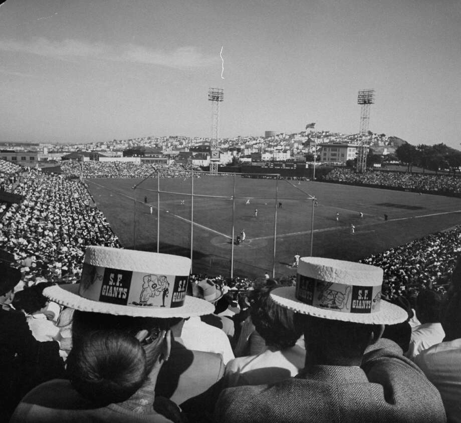 Fans attend opening day at Seals Stadium on April 15, 1958. Photo: Jon Brenneis, Time & Life Pictures/Getty Image