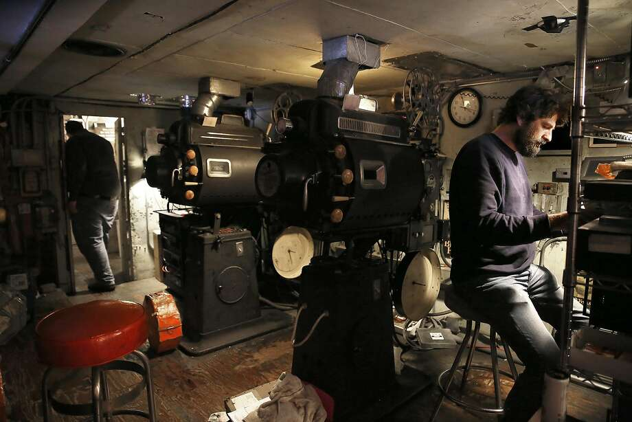 The Roxie Theater's staff prepares for the night's movie in the projection room of the theater, which got a grant and negotiated a three-year lease after facing displacement over rising rent. Photo: Liz Hafalia, The Chronicle
