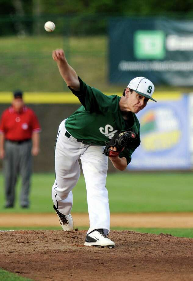 Shenendehowa's Ian Anderson pitches against Saratoga during their Section II Class AA Baseball Final game in Troy, N.Y., Friday, May 29, 2015. (Hans Pennink / Special to the Times Union) ORG XMIT: HP102 Photo: Hans Pennink / 00032081A
