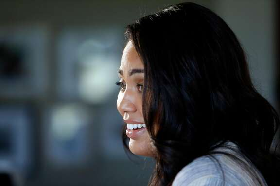 """Ayesha Curry tapes her CSN Bay Area show """"Cookin' with the Currys"""" in the kitchen of her home in Walnut Creek, Calif., on Wednesday, March 30, 2016."""