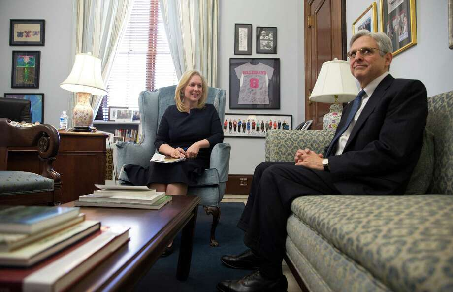 Judge Merrick Garland, President Barack Obama's Supreme Court nominee, meets with Sen. Kirsten Gillibrand (D-N.Y.) in her offices on Capitol Hill, in Washington, March 30, 2016. (Stephen Crowley/The New York Times) ORG XMIT: XNYT53 Photo: STEPHEN CROWLEY / NYTNS