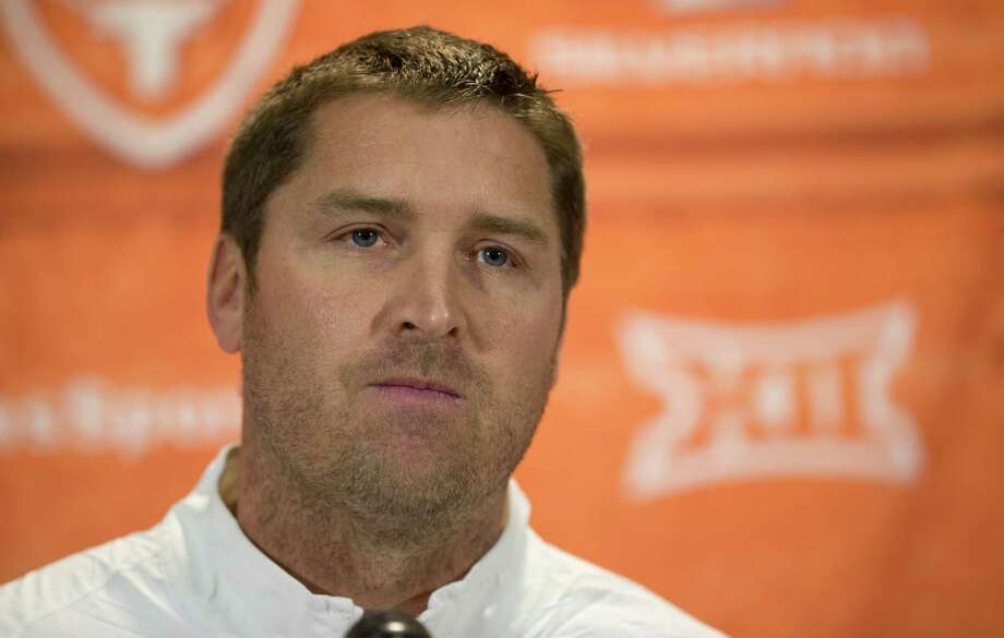 Texas offensive coordinator Sterlin Gilbert talks at his introductory news conference at Royal-Memorial Stadium on Monday December 14, 2015.  JAY JANNER / AMERICAN-STATESMAN Photo: Jay Janner, Staff Photographer / Austin American-Statesman