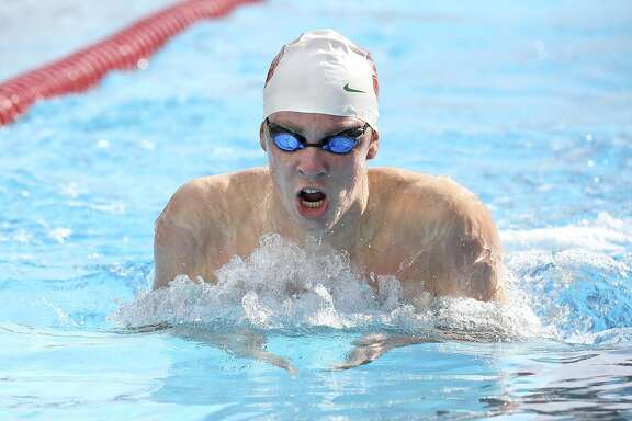 Stanford swimmer Brock Turner during a meet against University of the Pacific on January 10, 2015 in Stanford, California. Turner will be charged in the rape of a woman he met at a campus party and assaulted her as she lay intoxicated and unconscious outside, said Santa Clara County prosecutors on Tuesday 27, 2015.