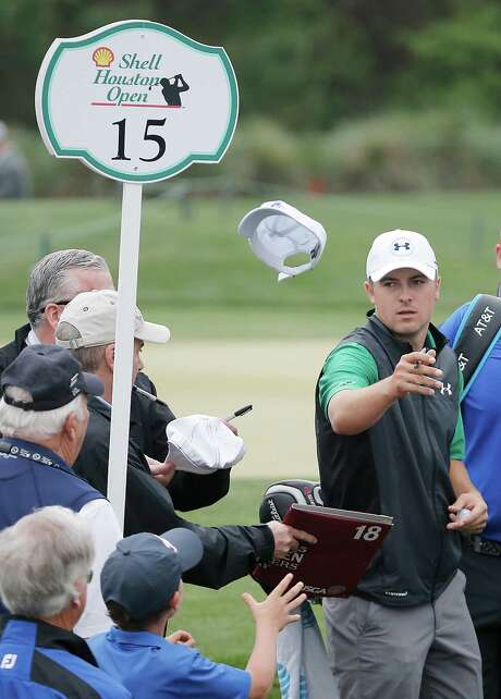 It was hats off to Jordan Spieth for an autograph seeker during Wednesday's pro-am. Photo: Thomas B. Shea, Freelance / © 2016Thomas B. Shea