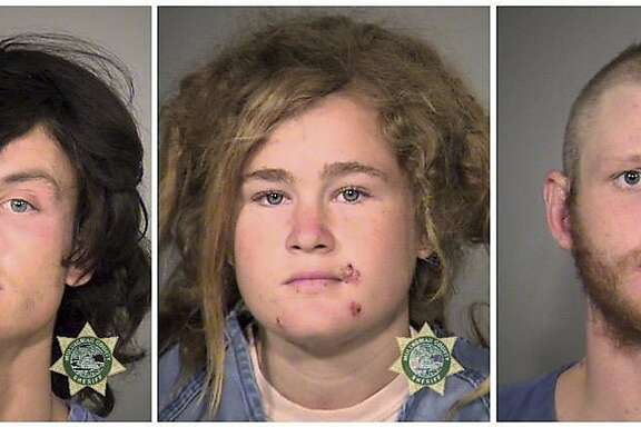 FILE - This undated combination of file photos provided by the Multnomah County Sheriff's Office show, from left, Sean Michael Angold, Lila Scott Allgood, and Morrison Haze Lampley. The three young transients accused of robbing and killing two people in Northern California have pleaded not guilty to murder charges in a Marin County Superior courtroom Thursday, Nov. 19, 2015, in San Rafael, Calif. The three were arrested in Portland, Ore. (Multnomah County Sheriff's Office/Portland Police via AP, File)