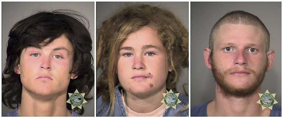 FILE - This undated combination of file photos provided by the Multnomah County Sheriff's Office show, from left, Sean Michael Angold, Lila Scott Allgood, and Morrison Haze Lampley. The three young transients accused of robbing and killing two people in Northern California have pleaded not guilty to murder charges in a Marin County Superior courtroom Thursday, Nov. 19, 2015, in San Rafael, Calif. The three were arrested in Portland, Ore. (Multnomah County Sheriff's Office/Portland Police via AP, File) Photo: Associated Press