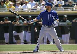 Kansas City Royals' Alex Gordon against the Oakland Athletics during a spring training baseball game in Mesa, Ariz., Sunday, March 27, 2016. (AP Photo/Jeff Chiu)