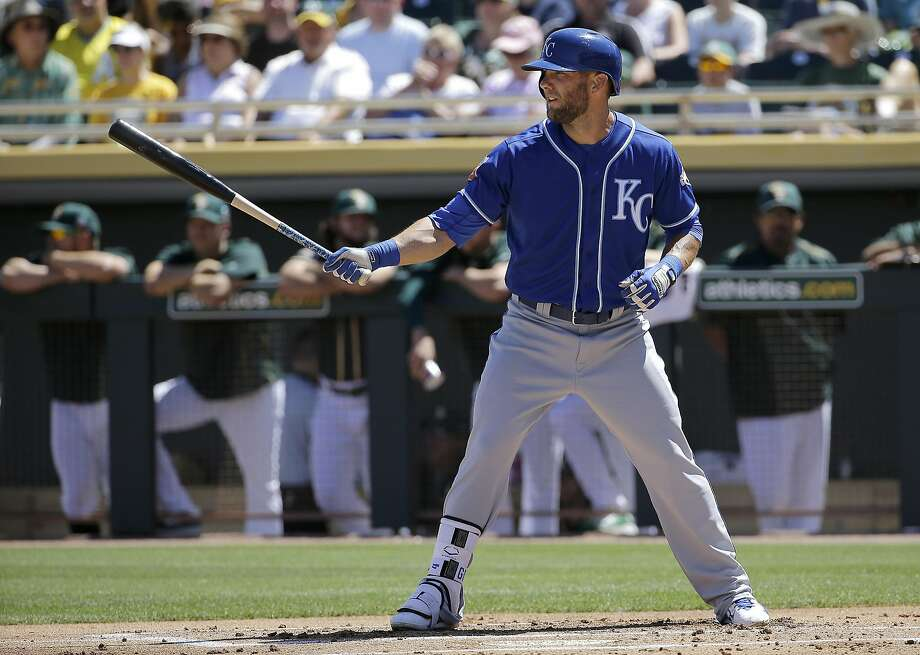 Kansas City Royals' Alex Gordon against the Oakland Athletics during a spring training baseball game in Mesa, Ariz., Sunday, March 27, 2016. (AP Photo/Jeff Chiu) Photo: Jeff Chiu, AP