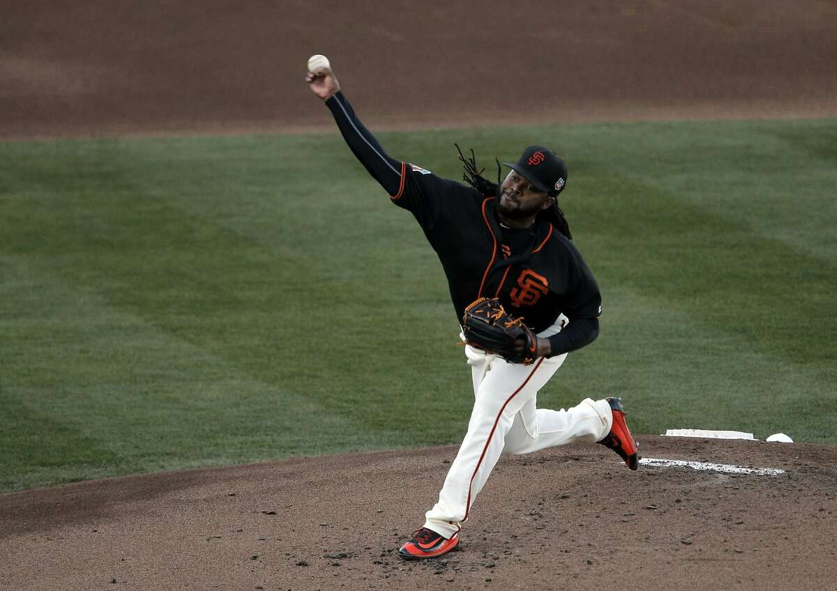 Johnny Cueto (47) pitches in the first inning as the San Francisco Giants played the Sacramento River Cats at Raley Field in Sacramento, Calif., on Wednesday, March 30, 2016.