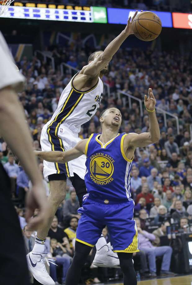 Utah Jazz center Rudy Gobert made things difficult for the Warriors in the paint Wednesday night in Salt Lake City. Photo: Rick Bowmer, AP