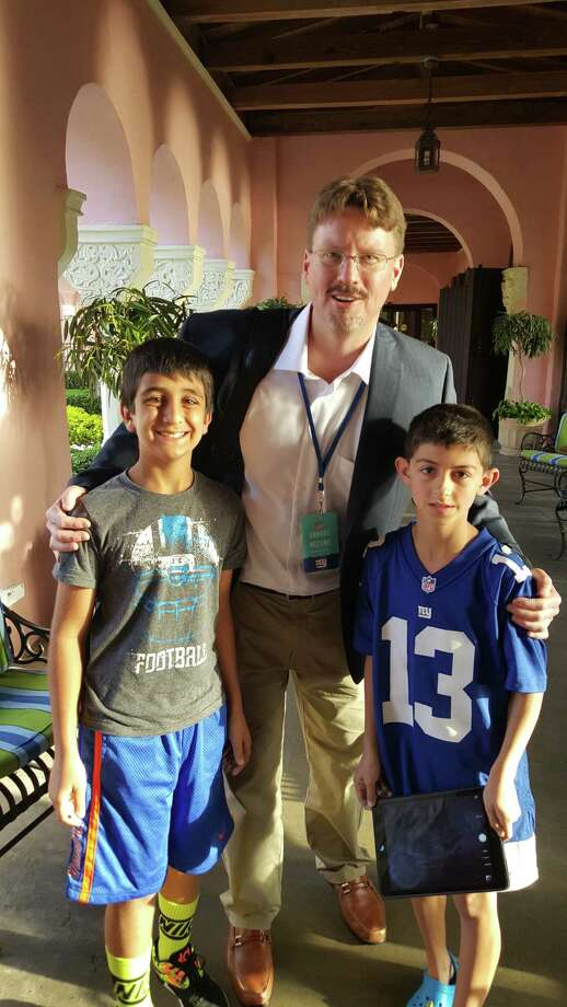 Giants Coach Ben McAdoo with Luke Sadaka and Ryan Sneddon, right. Photo: / Sent-in
