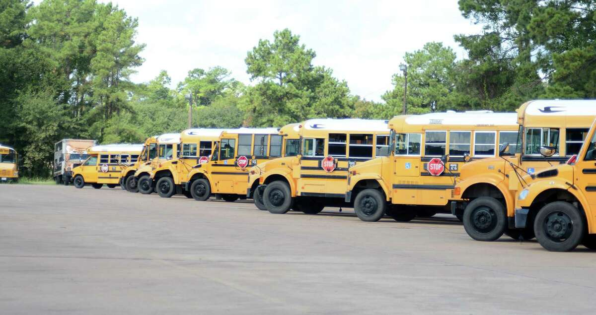 Conroe ISD school buses at the Conroe ISD bus barn,108 Gladstell in Conroe. Photograph by David Hopper..