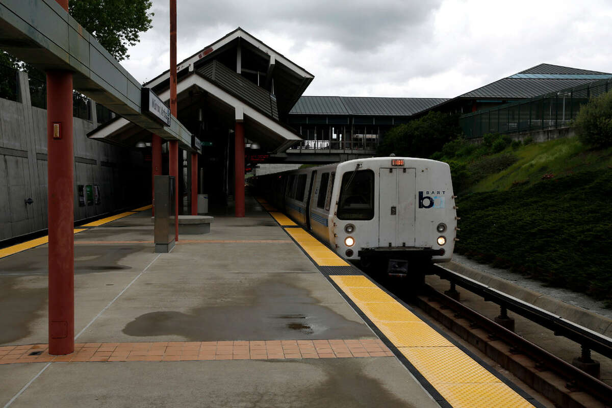 A BART train sits at the North Concord/Martinez Station in Concord, California, on Sunday, March 20, 2016. BART trains between the Walnut Creek and Pleasant Hill stations were delayed after a suspect fleeing police crashed into a fence and obstructed the tracks.