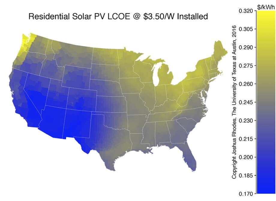 Levelized cost of electricity for residential, rooftop solar across the U.S.