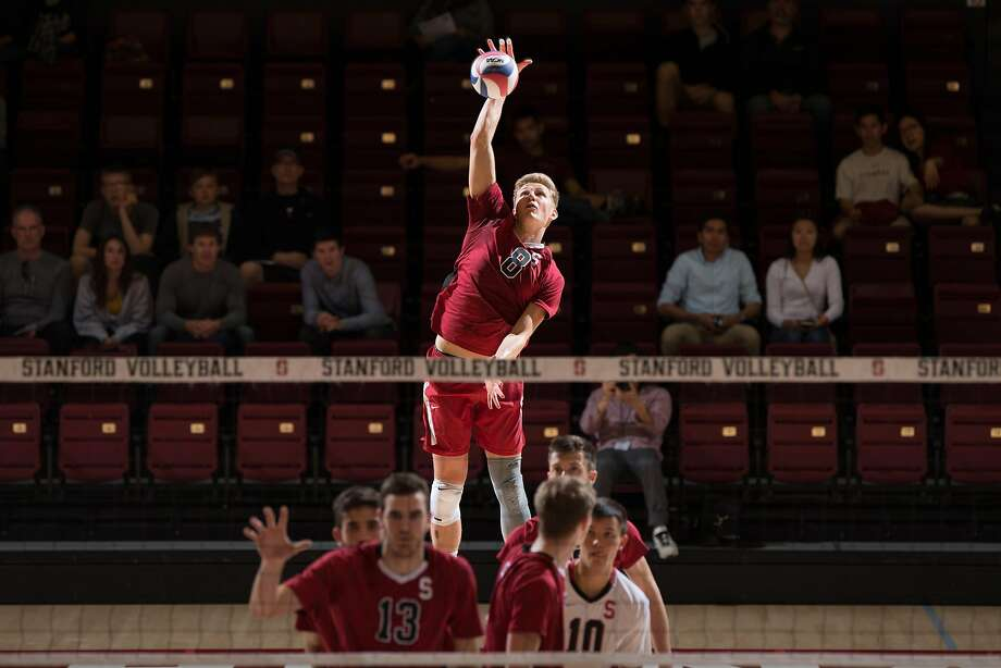 Besides being an exceptional setter (3,550 assists in four years), James Shaw is probably Stanford's best server. Photo: Mike Rasay/StanfordPhoto.com
