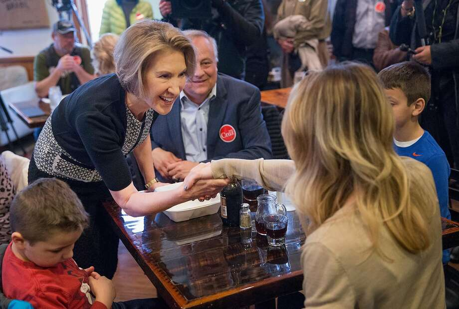 Former GOP presidential candidate Carly Fiorina campaigns for Texas Sen. Ted Cruz at a restaurant in De Pere, Wis. Photo: Scott Olson, Getty Images