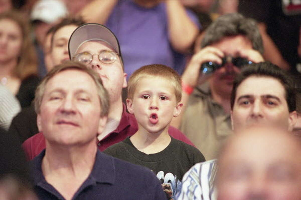Fans at WWE Wrestlemania event at the Reliant Astrodome on Sunday, April 1, 2001.