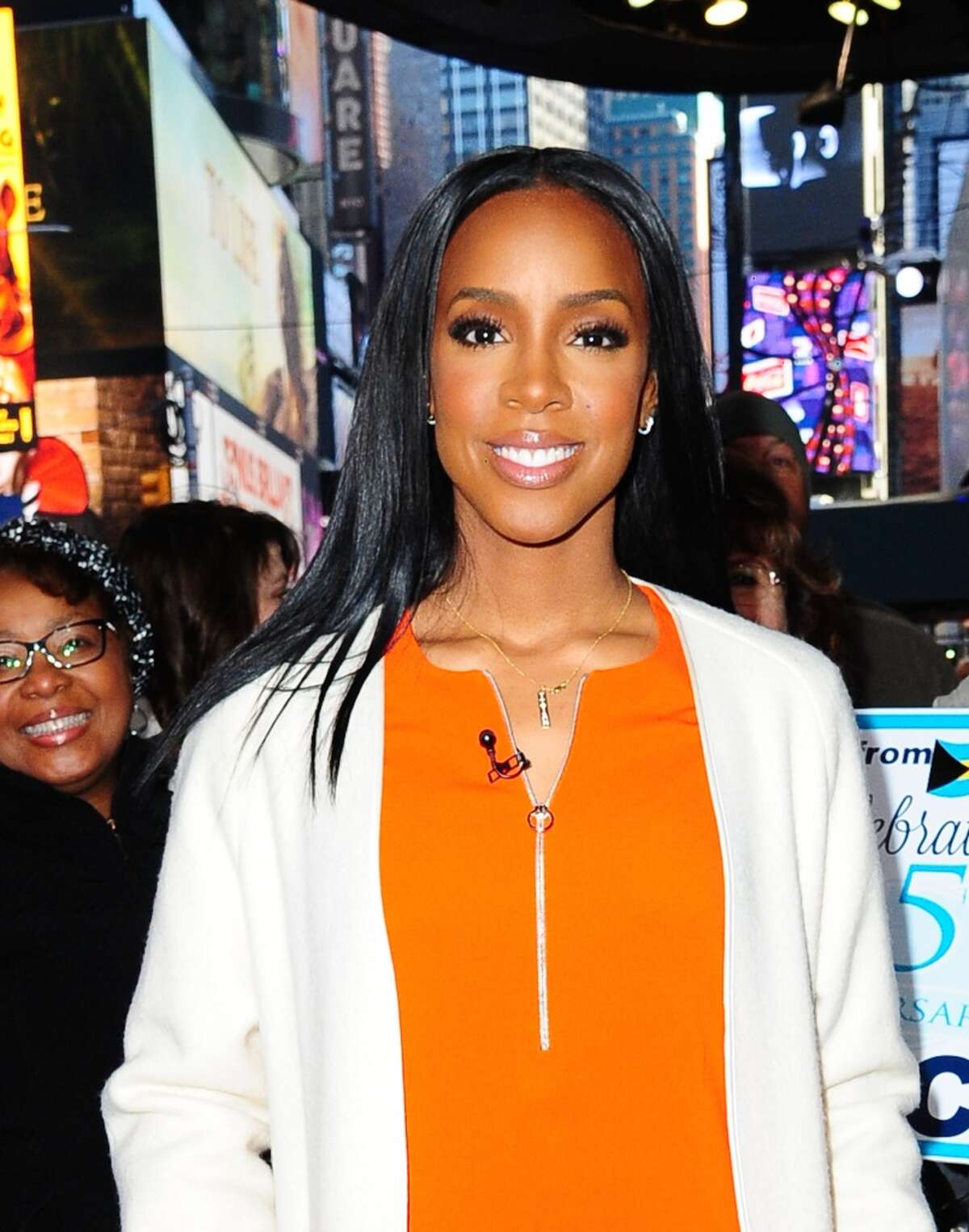 Singer Kelly Rowland is seen on the set of