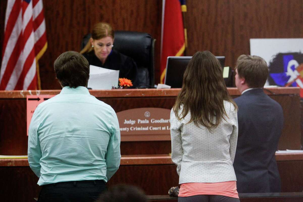One of the eight prostitutes, second from right, alleged to be connected to the United Airlines pilot who was accused of running a prostitution ring appeared in front of Judge Paula Goodhart in misdemeanor court Thursday, March 31, 2016 in Houston.