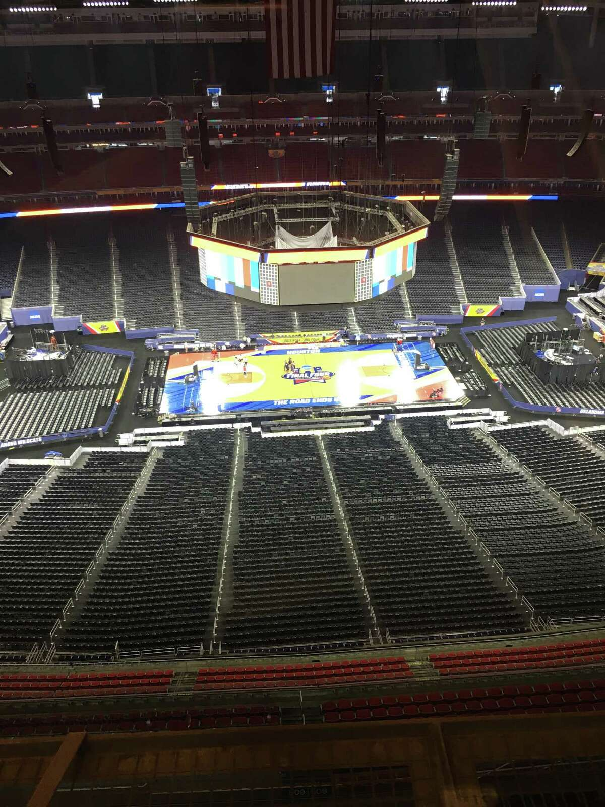 The view from the Final Four press box at NRG Stadium on Thursday.