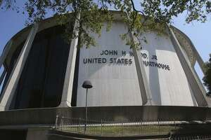 The John H. Wood, Jr. Federal Courthouse at 655 E César E. Chávez Blvd., built as the Confluence Theatre for HemisFair '68, is an example of the brutalist school of mid-century architecture.