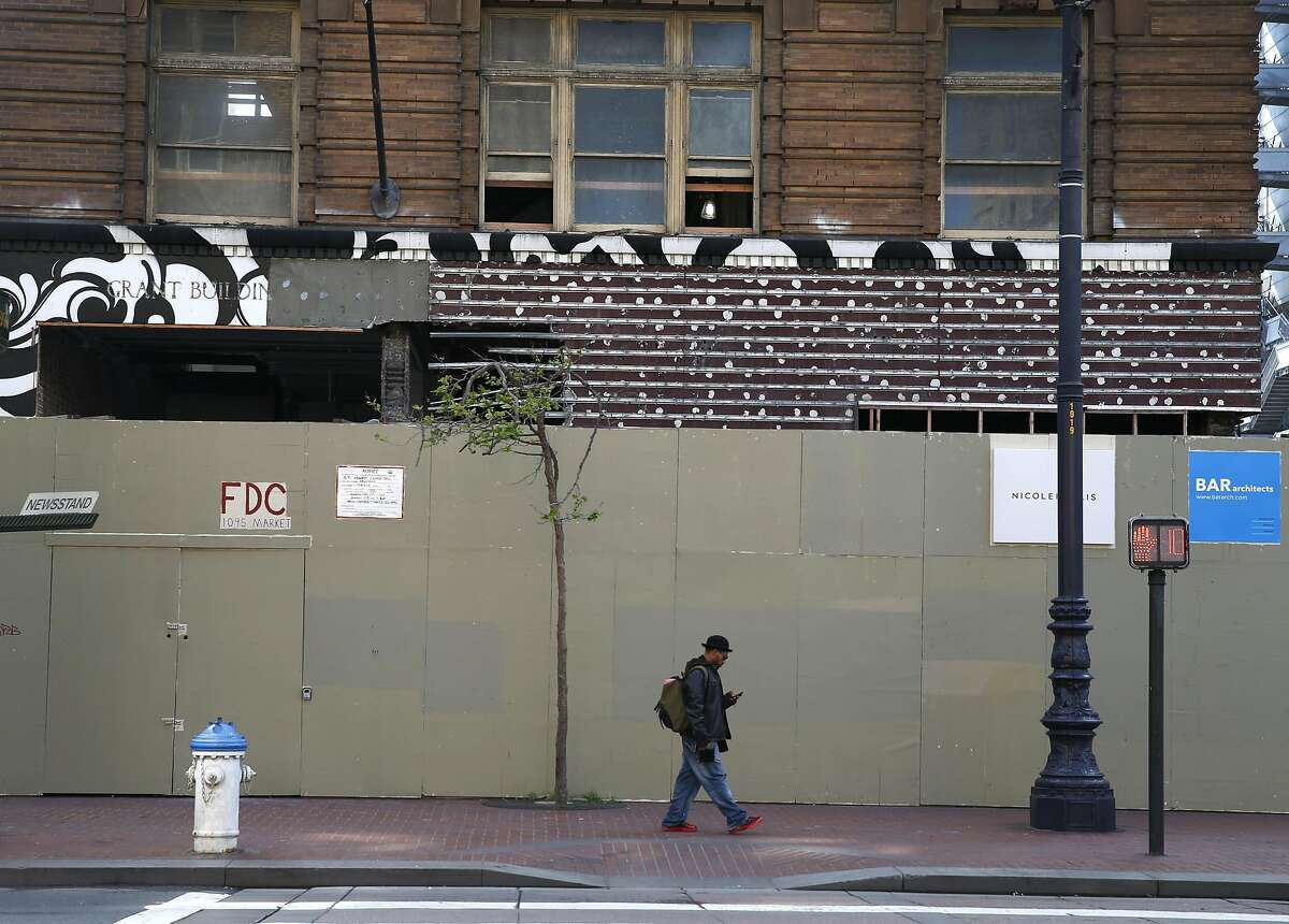 Developers are transforming the old Grant Building at Seventh and Market streets into a hotel in San Francisco, Calif. on Thursday, March 31, 2016.