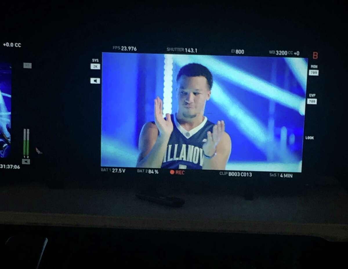 Villanova's Jalen Brunson films his Final Four intro video for TBS on Thursday at NRG Stadium.
