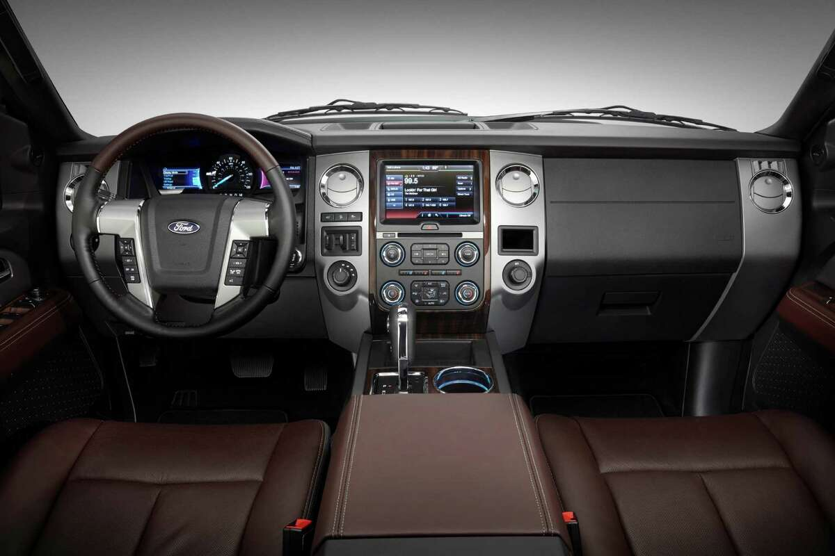 The new 2015 Ford Expedition is available with SYNC with MyFord Touch, ambient LED interior lighting and a sophisticated Brunello leather interior exclusive to the Platinum trim level.