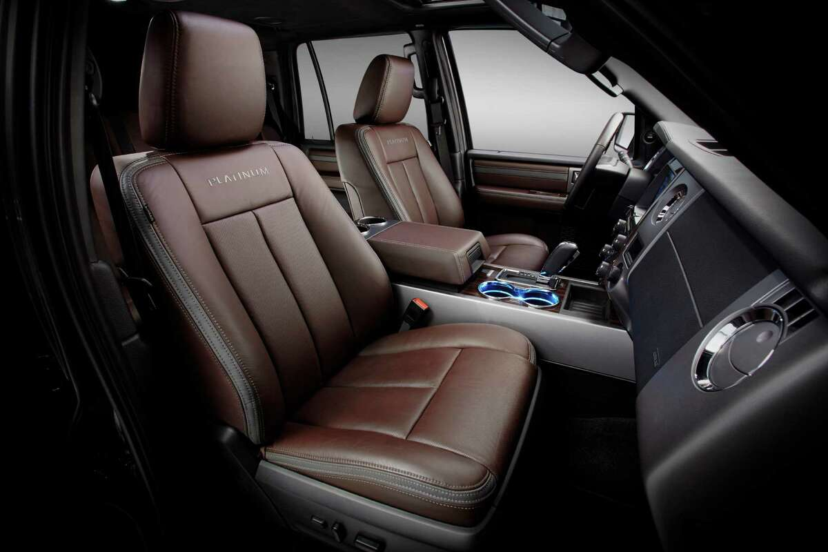 The Ford Expedition is available with SYNC 3 with MyFord Touch, ambient LED interior lighting and a sophisticated Brunello leather interior exclusive to the Platinum model.