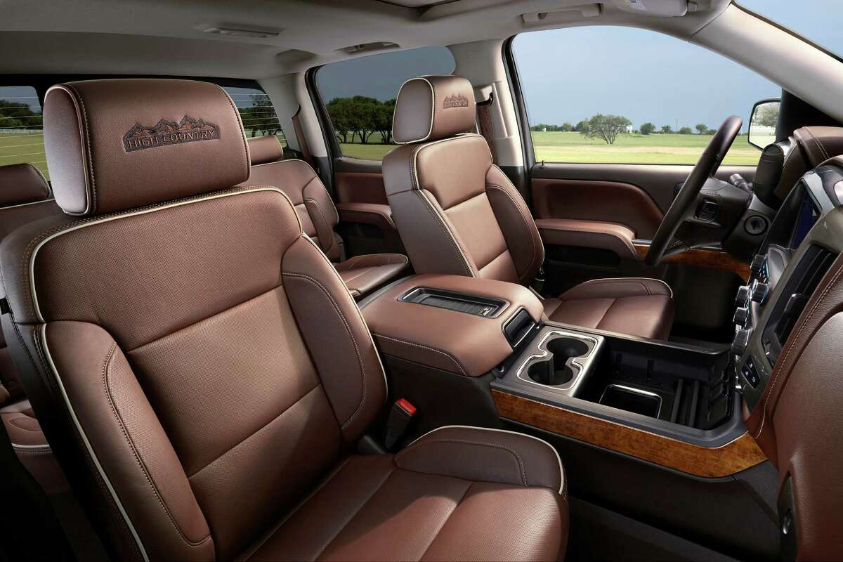 The top-of-the-line Silverado 1500 High Country has a roomy locking center console that accommodates hanging files, a laptop or tablet computer and has USB, 12-volt and 110-volt outlets.