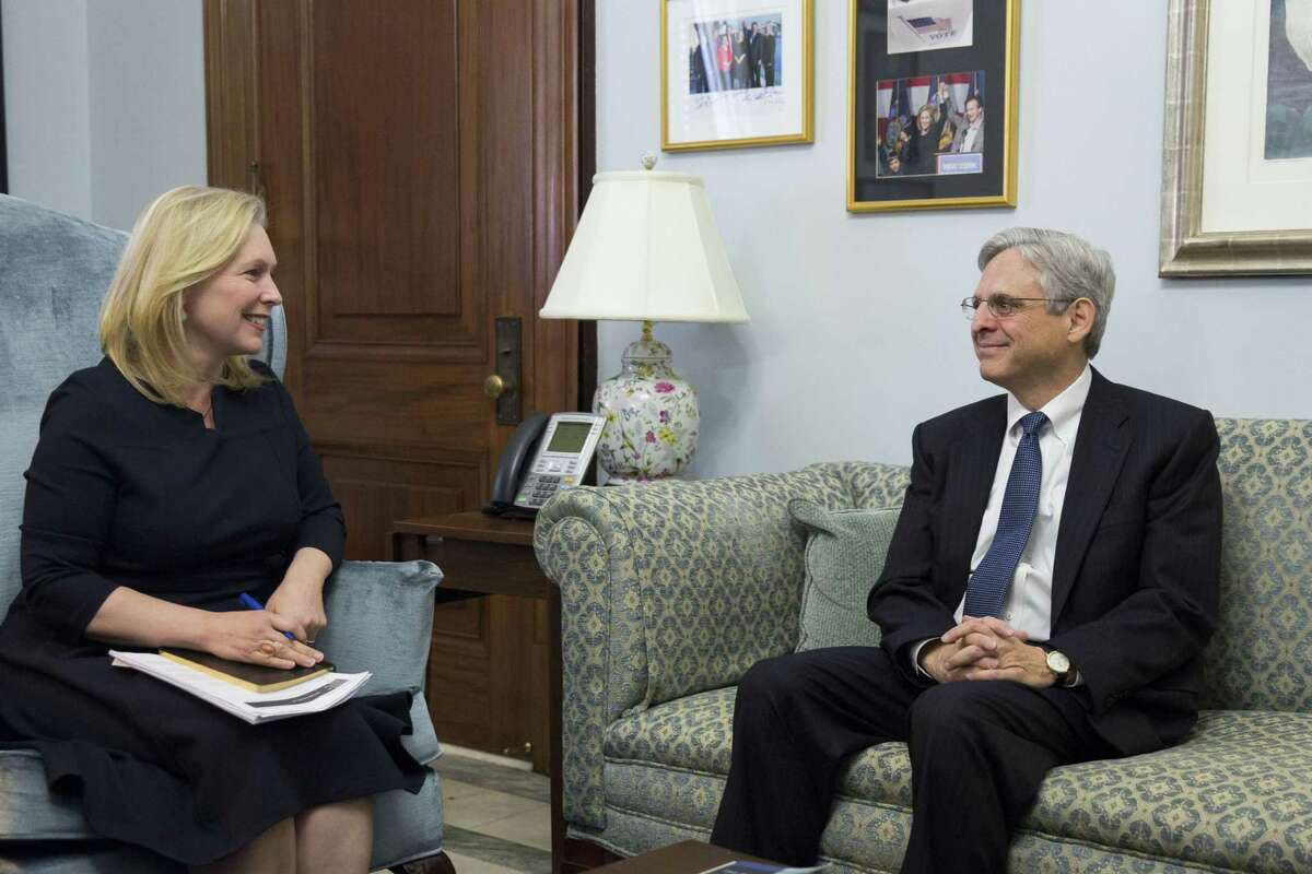 Sen. Kirsten Gillibrand, D-NY, talks to U.S. Supreme Court nominee Merrick Garland during a photo opportunity before a private meeting with in her office on Capitol Hill Wednesday. Most Republicans, including Sens. John Cornyn and Ted Cruz, refuse to consider Garland.