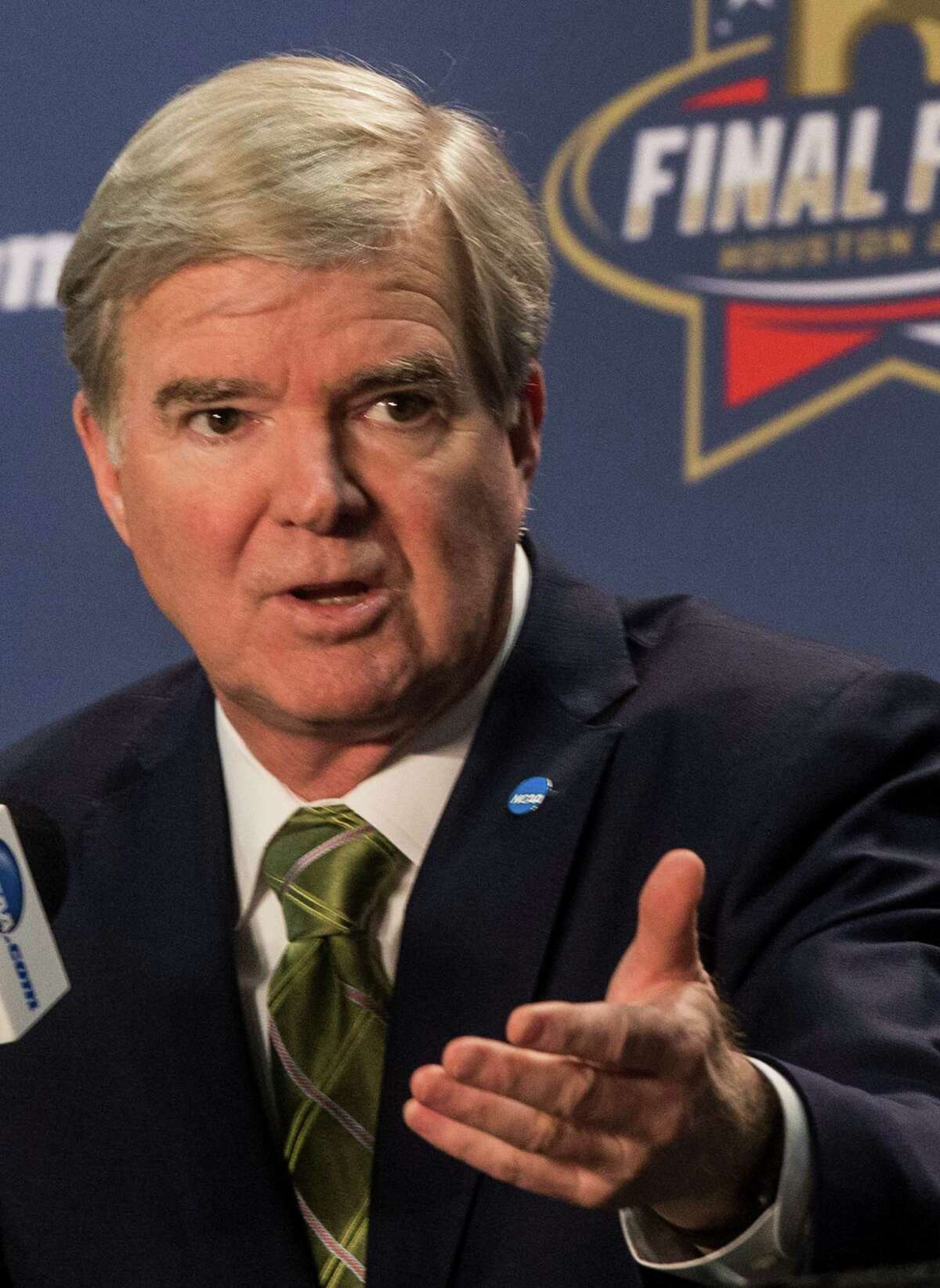 NCAA President Mark Emmert speaks to the media during a news conference at NRG Stadium on Thursday, March 31, 2016, in Houston.