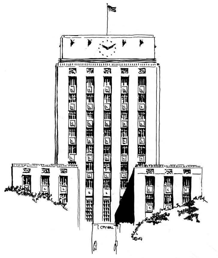 "Line drawing of Houston City Hall for ""Campaign Watch"""