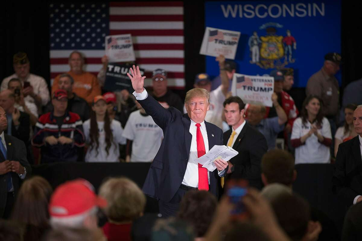 APPLETON, WI - MARCH 30: Republican presidential candidate Donald Trump speaks to guests during a campaign rally at the Radisson Paper Valley Hotel on March 30, 2016 in Appleton, Wisconsin. Wisconsin voters go to the polls for the state's primary on April 5. (Photo by Scott Olson/Getty Images)