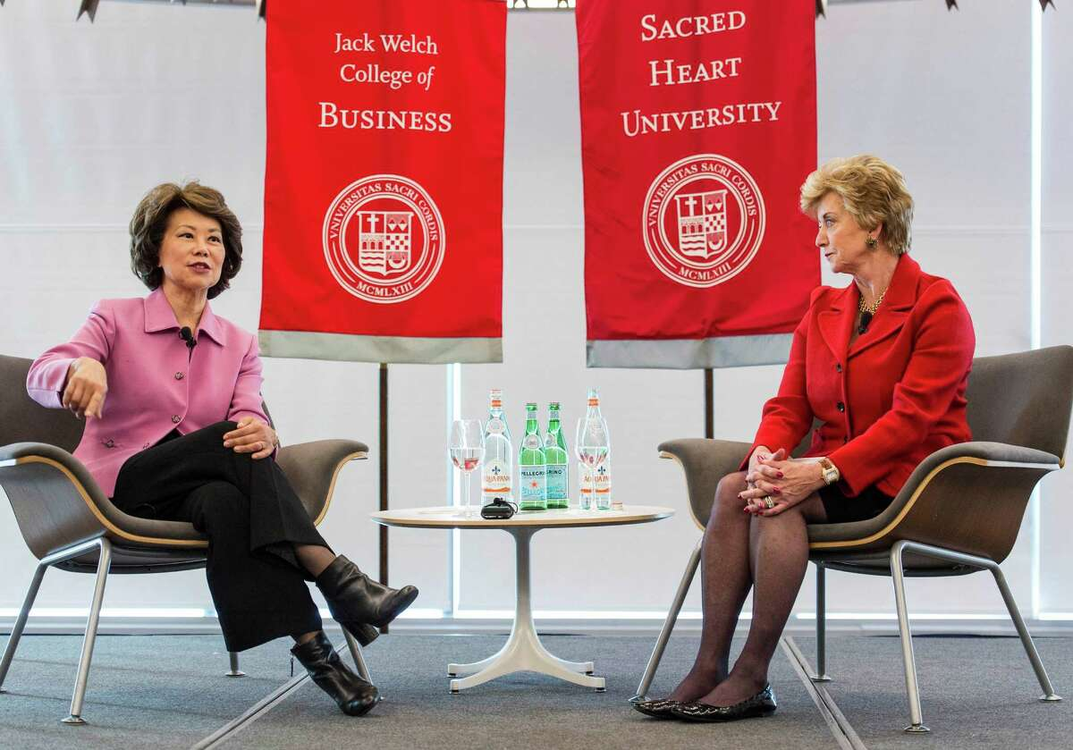 """Elaine L. Chao, former U.S. Secretary of Labor, talks with Linda McMahon as part of an ongoing series, """"Women Can Have it All,"""" at Sacred Heart University, Fairfield, Conn. on Thursday, March 31, 2016."""