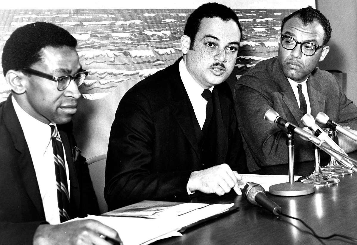 RAY TALIAFERRO (March 6, 1967): He's known for his long radio career, but he was also an anchor for KRON and worked for KGO-TV. In this photo, he's at an NAACP press conference with Robert Hayes and Clifton R. Jeffers.