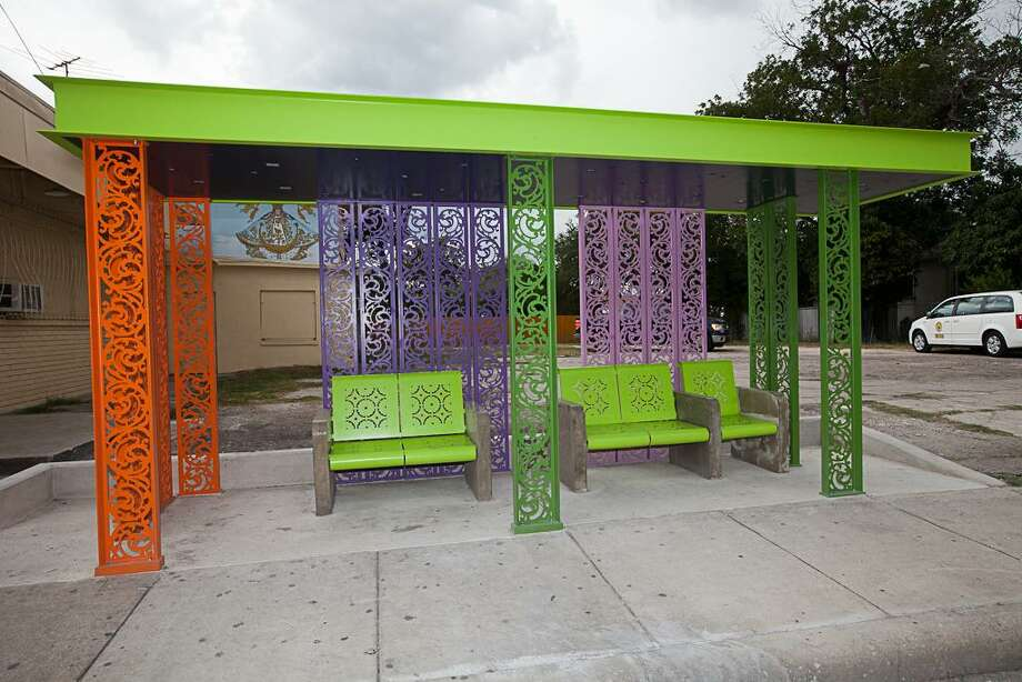 "A joint project in 2016 of the citys Department for Culture &Creative Development and VIA, the ""Urban Porch"" bus shelters were designed by artist and graphic designer Andréa Caillouet, architectural designer Lisa Elena Reese and architectural designer Jack Harrison. VIA just announced its 1,000th covered bus shelter. Photo: Courtesy City Of San Antonio / / courtesy City of San Antonio"