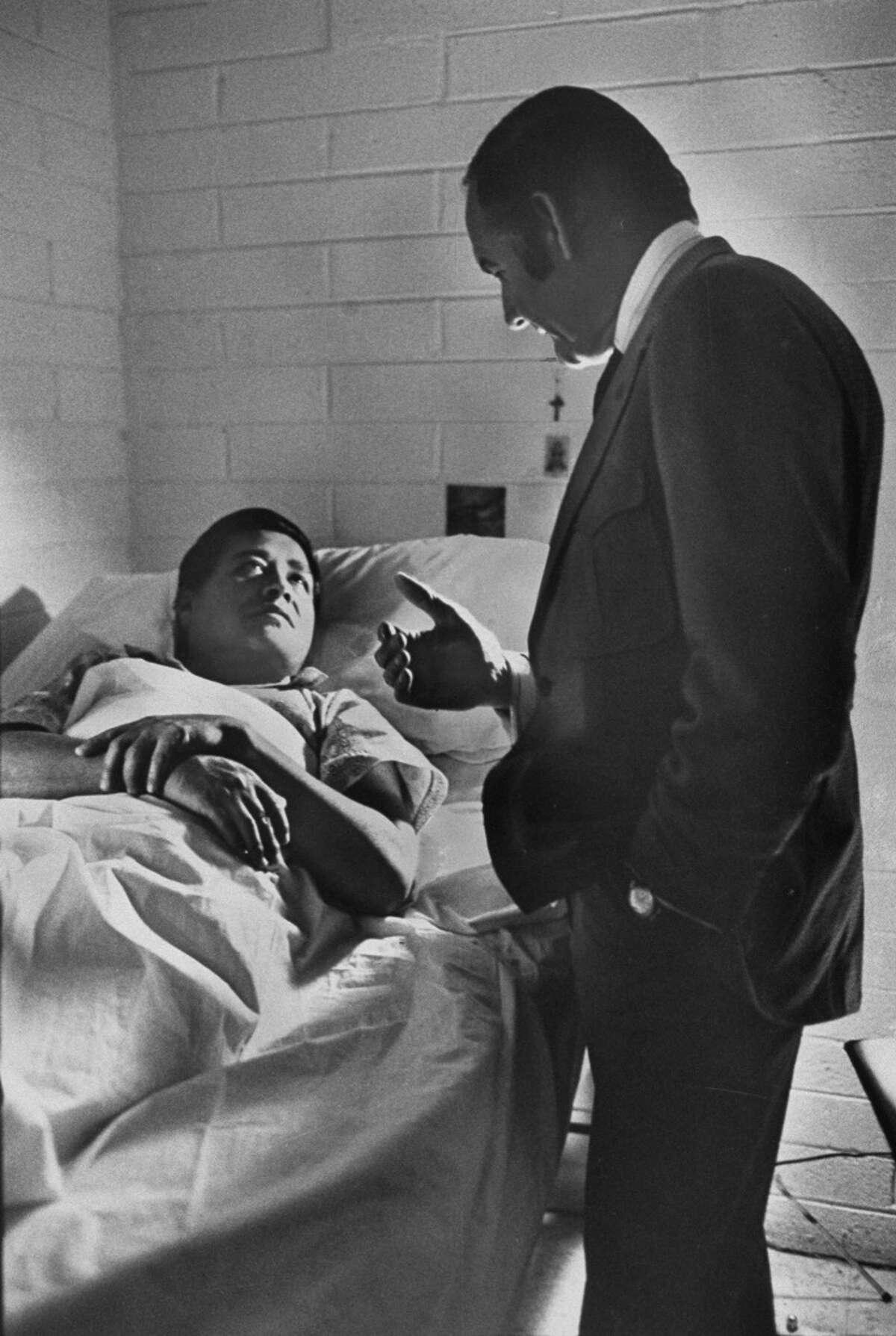 Sen. George McGovern, right, visits Cesar Chavez.