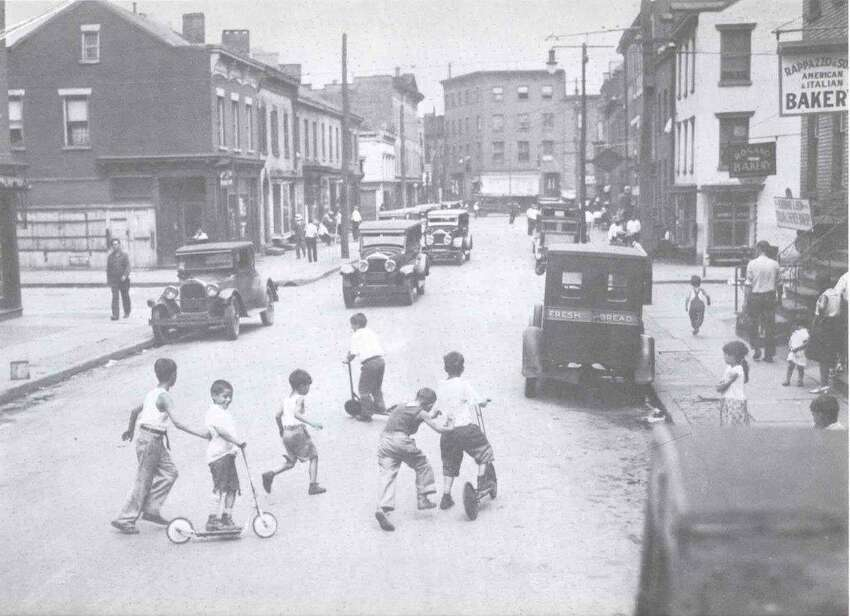 This circa 1920s photo of Green Street in Albany's South End shows vibrant street life in the city's ethnic melting-pot. (Photo courtesy of the Albany Institute of History and Art's Morris Gerber Collection)