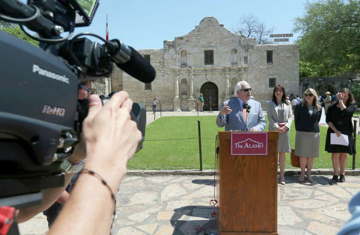 Alamo Endowment Chairman Gene Powell speaks Thursday afternoon, March 31, 2016, in front of the Alamo as he announces Preservation Design Partnership has been selected to lead the Alamo master planning process.