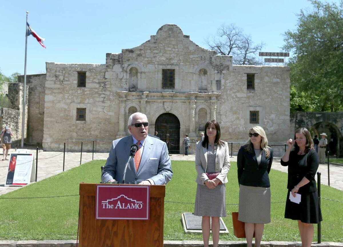 Alamo Endowment Chairman Gene Powell speaks in front of the Alamo as he announces Preservation Design Partnership has been selected to lead the Alamo master planning process.