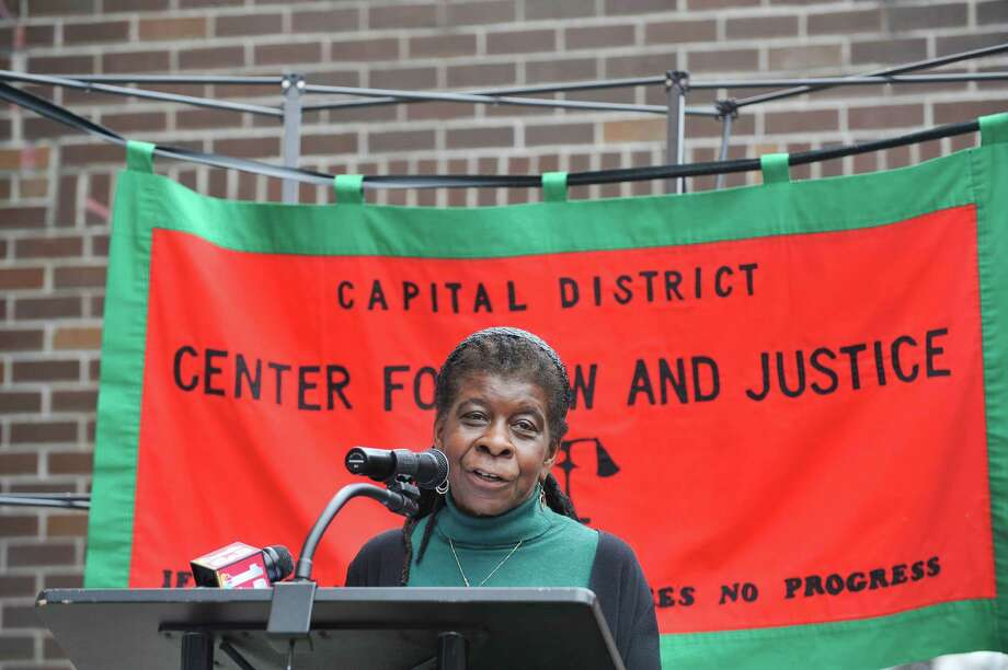 Alice Green, executive director of the Center for Law and Justice, addresses those gathered on Thursday, March 31, 2016, in Albany, N.Y., at an event held by city, county and community leaders to announce a new program to divert low level offenders into programs to help them.  The Evidence-Based Law Enforcement Assisted Diversion (LEAD) program is designed to reduce low-level arrests and allow police officers to exercise their discretion to send an individual to a case manager who can facilitate access to a network of services available to that individual.  (Paul Buckowski / Times Union) Photo: PAUL BUCKOWSKI / 10036043A