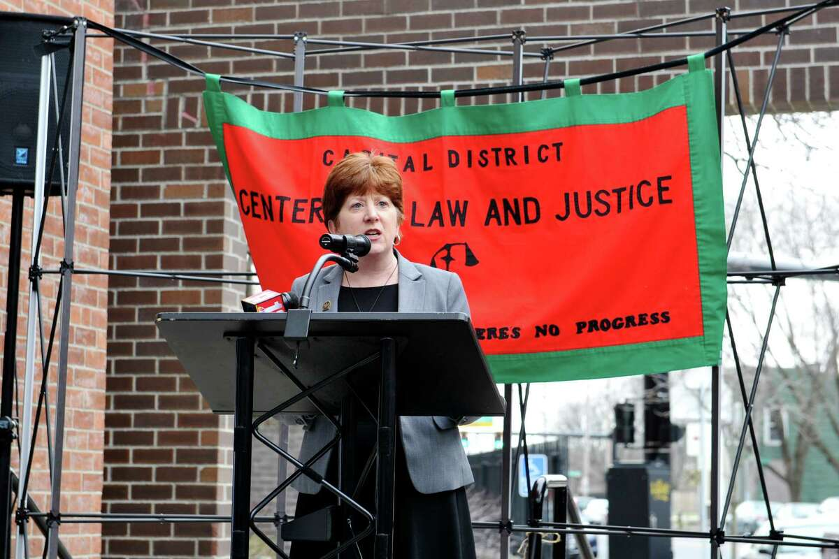 Albany Mayor Kathy Sheehan addresses those gathered on Thursday, March 31, 2016, in Albany, N.Y., at an event held by city, county and community leaders to announce a new program to divert low level offenders into programs to help them. The Evidence-Based Law Enforcement Assisted Diversion (LEAD) program is designed to reduce low-level arrests and allow police officers to exercise their discretion to send an individual to a case manager who can facilitate access to a network of services available to that individual. (Paul Buckowski / Times Union)
