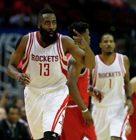 36bdac81dc01 Houston Rockets guard James Harden (13) reacts after a basket during the  second half