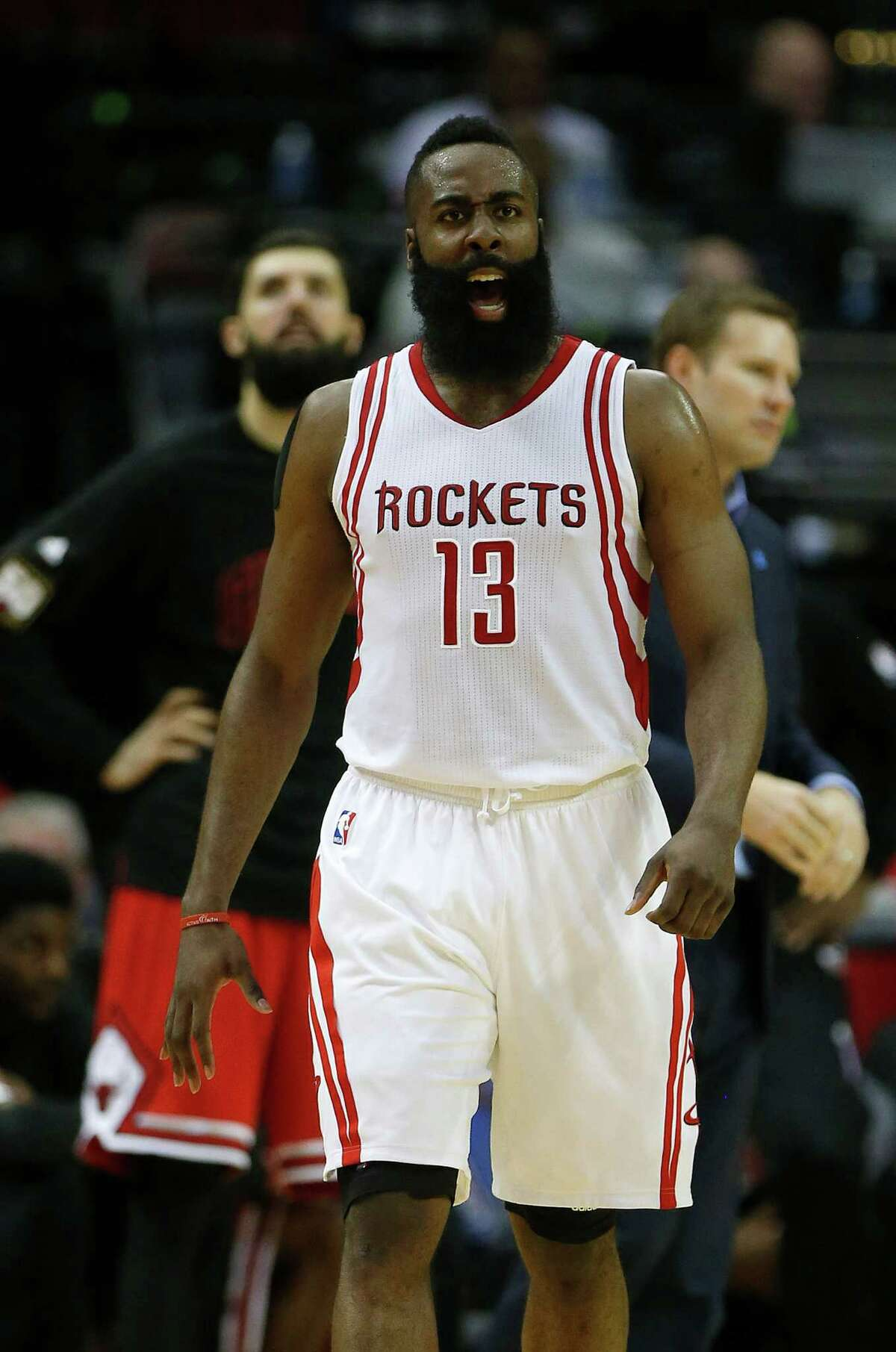 Houston Rockets guard James Harden (13) reacts after being fouled during the second half of an NBA basketball game at Toyota Center, Thursday, March 31, 2016, in Houston.