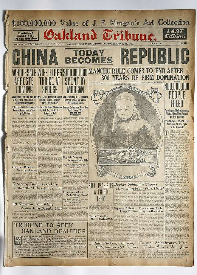 The Oakland Tribune front page of Feb. 12, 1912. Photo: Liz Hafalia, The Chronicle
