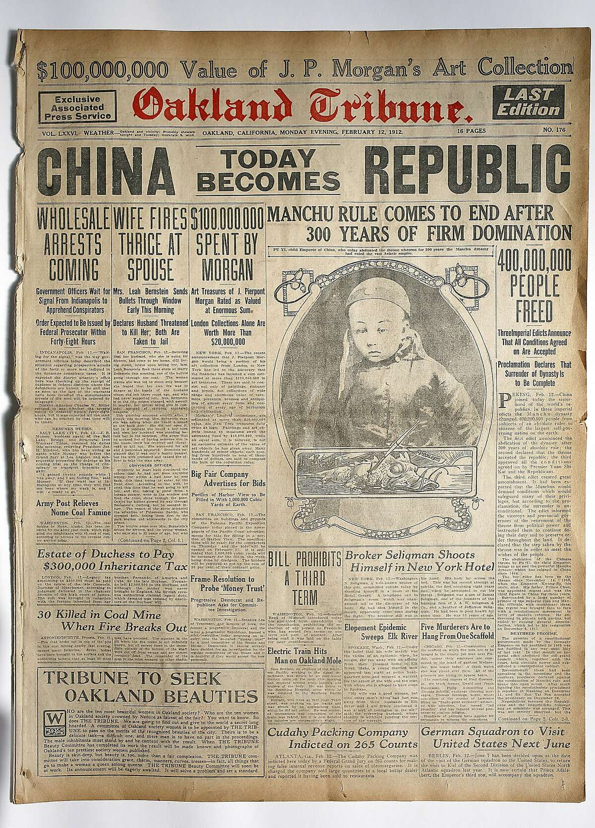 Copy of the Oakland Tribune front page in February 12, 1912 seen in San Francisco, California, on wednesday, march 30, 2016. Copy of the Oakland Tribune front page printed in February 12, 1912.
