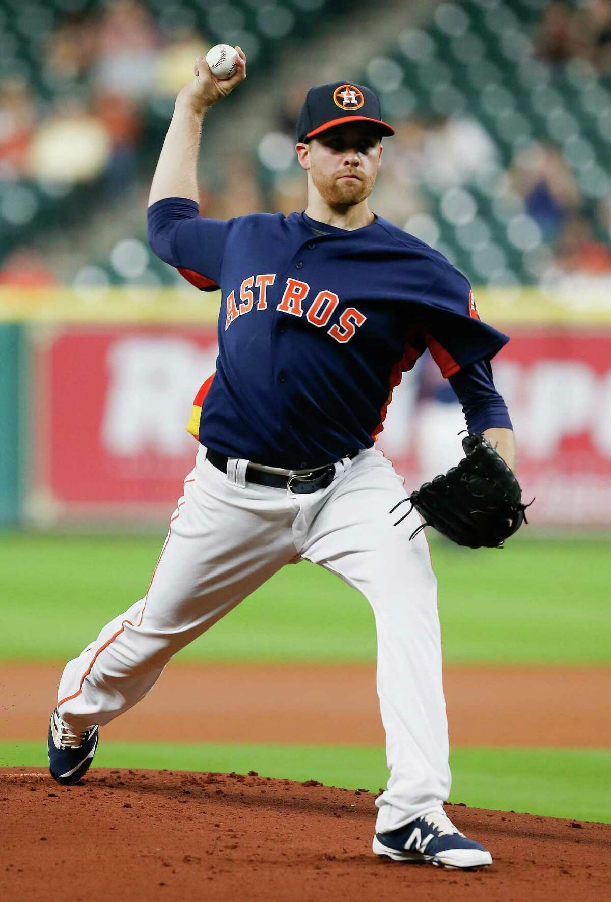 Houston Astros' Collin McHugh (31) throws in the first inning against the Milwaukee Brewers during a spring training baseball game Thursday, March 31, 2016, in Houston.