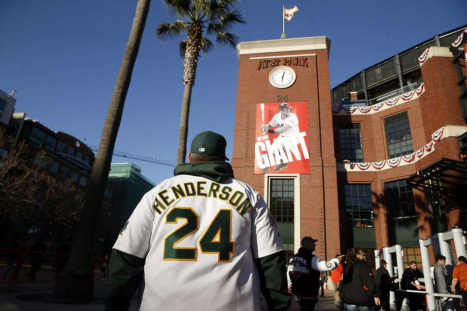 Oakland A's fan Joe Johnson of Berkeley arrives for Athletics' game against San Francisco Giants in the Bay Bridge Series at AT&T Park in San Francisco, Calif., on Thursday, March 31, 2016. Photo: Scott Strazzante, The Chronicle