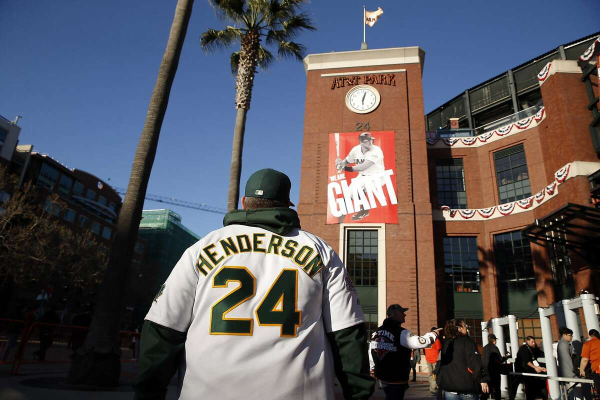 Oakland A's fan Joe Johnson of Berkeley arrives for Athletics' game against San Francisco Giants in the Bay Bridge Series at AT&T Park in San Francisco, Calif., on Thursday, March 31, 2016.